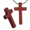Cross Wooden Religious 15x25mm Mahogany with 2mm Large Hole
